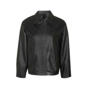 Topshop Boutique Leather Biker Shirt Jacket